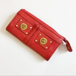 Marc by Marc Jacobs Red Turnlock Leather Wallet